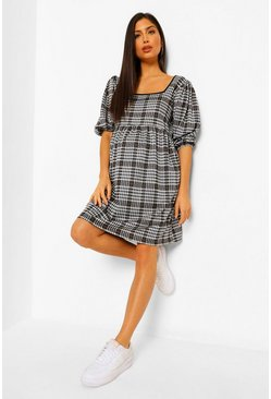 Black Maternity Check Smock Dress