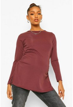 Mauve purple Maternity Ruched Side Split Tunic