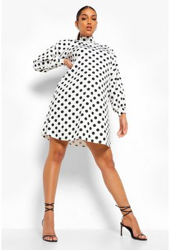 Ivory white Maternity Polka Dot Shift Dress