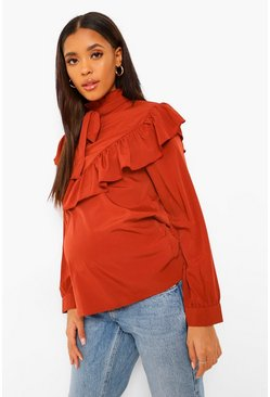 Rust Maternity Pussy Bow Ruffle Smock Top