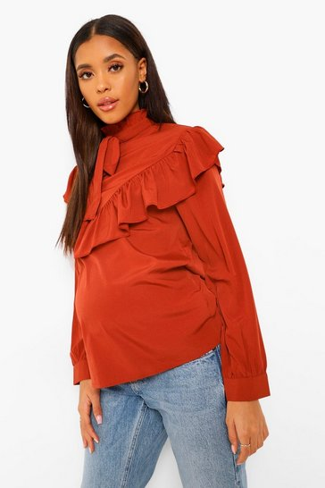 Rust orange Orange Maternity Pussy Bow Ruffle Smock Top