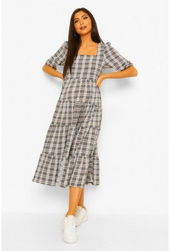 Multi Maternity Woven Check Tiered Maxi Dress