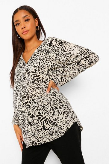 Black Maternity Leopard Print Oversized Shirt