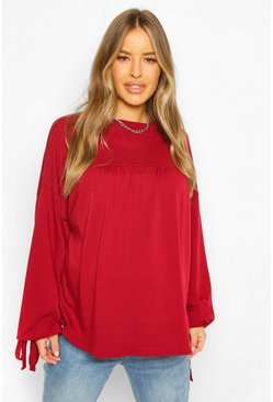 Wine red Maternity Tie Sleeve Tunic Sweat Top