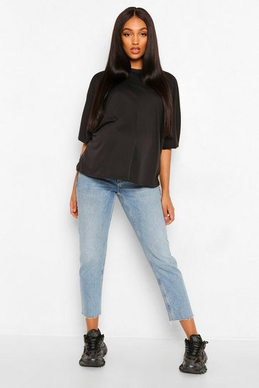 Black Maternity Ruched Tie Batwing Top