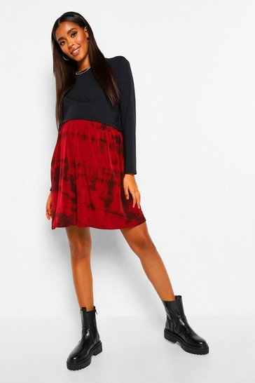 Wine red Maternity Tie Dye Tiered Smock Dress