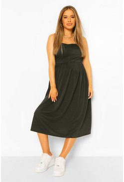 Black Maternity Loopback Pinafore Smock Dress