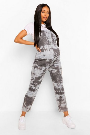 Charcoal grey Maternity Tie Dye Loopback Dungaree