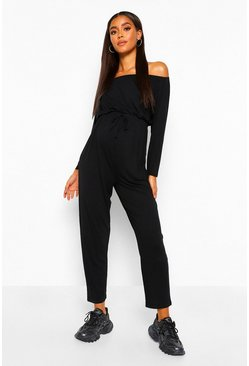 Black Maternity Off The Shoulder Jumpsuit