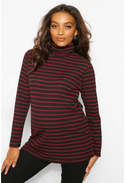 Wine red Maternity Roll Neck Stripe Rib Top