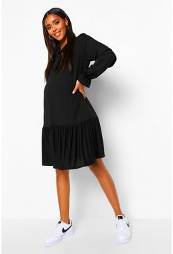 Black Maternity Tie Neck Smock Dress