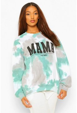 Forest green Maternity Tie Dye Mama Sweat Top