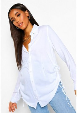 White Maternity Ruched Side Shirt