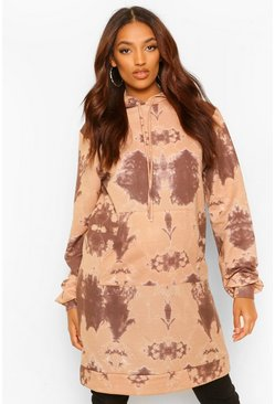 Maternity Oversized Tie Dye Hoody, Chocolate marrón