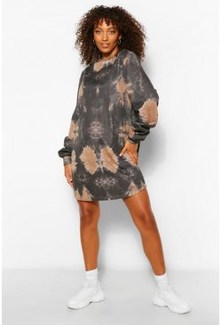 Chocolate Maternity Tie Dye Slouchy Sweat Dress