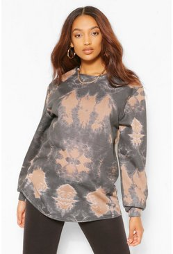 Caramel beige Maternity Tie Dye Sweat Top