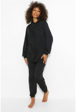 Black Maternity Hoody And Jogger Lounge Set