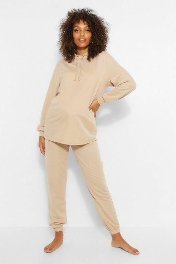 Stone beige Beige Maternity Hoody And Jogger Loungewear Set