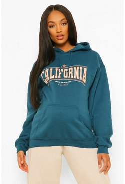 Petrol grey Maternity California Slogan Hoodie