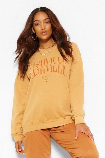 Rust orange Brown Maternity Nashville Slogan Sweatshirt