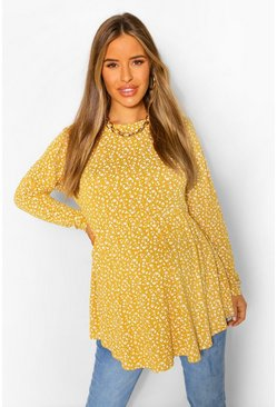 Mustard yellow Maternity Ditsy Floral Smock Tunic