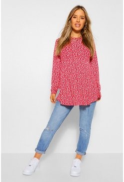 Red Maternity Ditsy Floral Smock Tunic