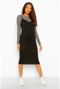 Black Maternity Stripe T-Shirt And Midi Slip Dress