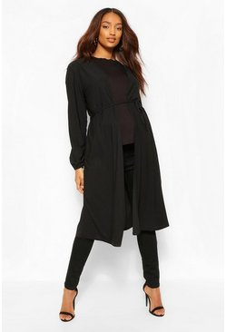 Black Maternity Balloon Sleeve Tie Waist Duster
