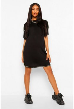 Black Maternity Contrast Stitching T-Shirt Dress