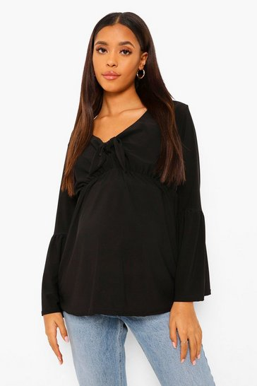Black Maternity Tie Front Smock Top