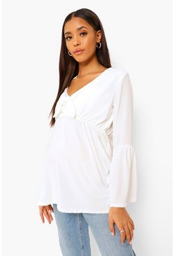 White Maternity Tie Front Smock Top