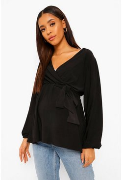Black Maternity Drape Sleeve Tie Waist Wrap Top