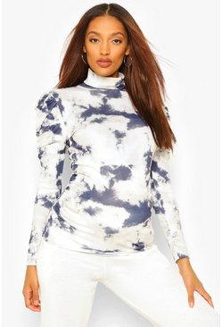 Navy Maternity Rib Roll Neck Tie Dye Top