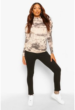 Stone beige Maternity Rib Roll Neck Tie Dye Top