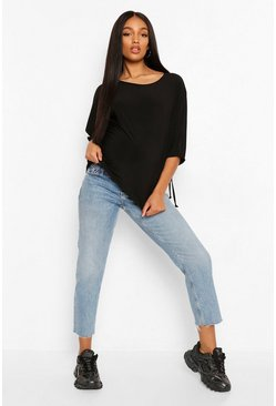 Black Maternity Drape Sleeve Slouchy Top