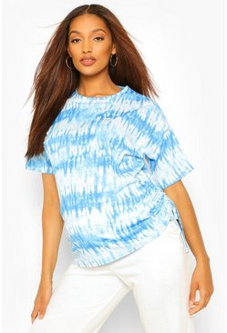 Blue Maternity Tie Dye Ruched Side Tunic Top