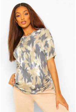 Khaki Maternity Tie Dye Ruched Side Tunic Top