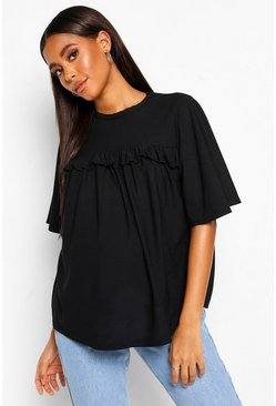 Black Maternity Ruffle Front Tunic Top