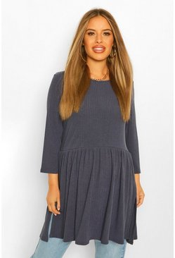 Slate blue blue Maternity Rib Side Split Tunic Top