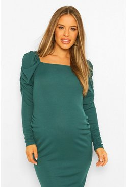 Teal green Maternity Rib Ruched Sleeve Bodycon Midi Dress