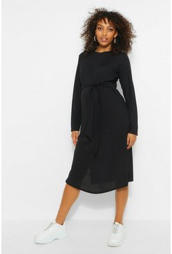 Black Maternity Tie Waist Side Split Midi Dress