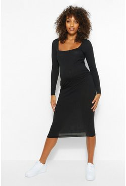 Black Maternity Square Neck Rib Bodycon Dress