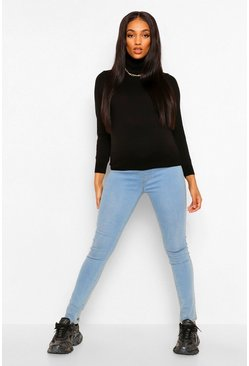 Black Maternity Lightweight Roll Neck Top