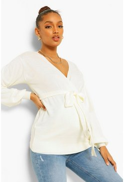 Cream Maternity Wrap Front Knitted Jumper