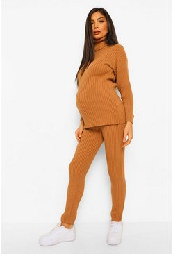 Camel beige Maternity Jumper And Legging Knitted Rib Co-Ord