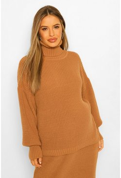 Camel beige Maternity Roll Neck Jumper And Skirt Co-Ord