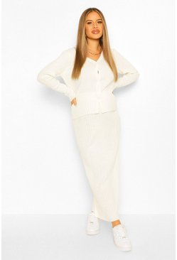 Cream white Maternity Button Front Knitted Skirt Co-Ord Set