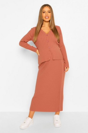 Rose pink Maternity Button Front Knitted Skirt Co-Ord Set