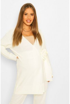 Cream Maternity Tie Side Cardigan Slouchy Knitted Co-Ord