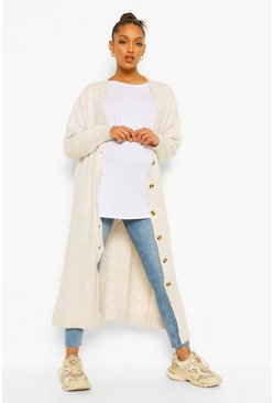 Cream white Maternity Button Front Slouchy Maxi Cardigan